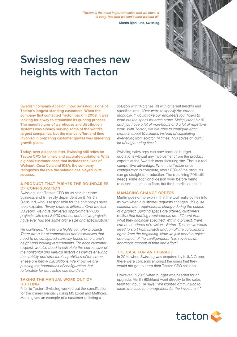 Swisslog reaches new heights with Tacton