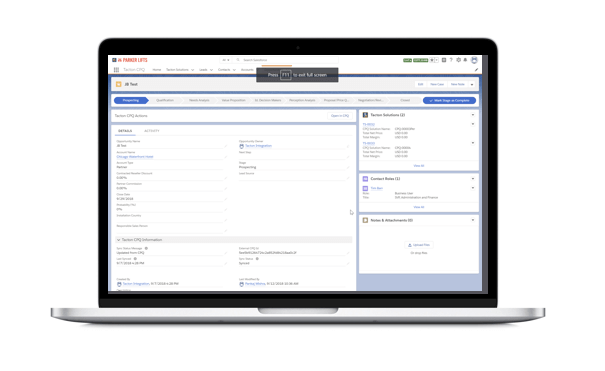 screenshot for CPQ for salesforce