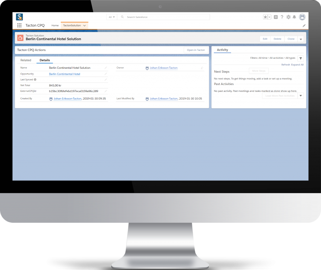 Tacton CPQ software for Salesforce in action