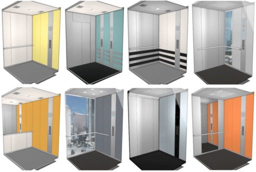 Different elevator cabin designs and accessories